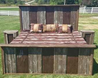 """Rustic Bed - """"Tin River"""" Authentic Barn Wood Bed - Complete Set - Headboard, Footboard, Side Rails & 2 Nightstands - Full, Queen or King"""
