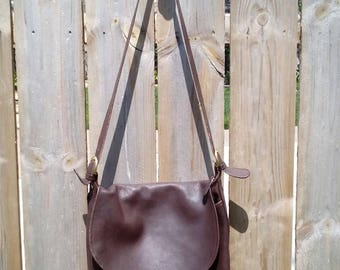 Dark Brown Leather Coach Cross Body Bag D6H- 4115