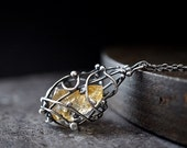Raw Citrine Cage Necklace , Rough Crystal Pendant , Long Sterling Necklace ,  November Birthstone , Metaphysical Jewelry