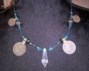 Tribal fusion blue beaded necklace with kuchi coins and crystal