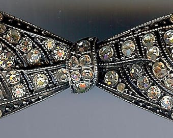 ANTIQUE VICTORIAN paste rhinestone sterling silver BOW pin brooch*