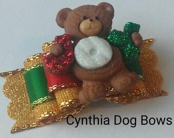 Christmas Dog Bow 5/8 JOY BEAR