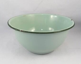 "RESERVED - Vintage Enamelware Bowl, Rustic, 1950's, Green Enamelware, 7-1/2"" Wide X 3-3/4"" Tall"