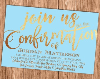 Blue Confirmation Invitation - First Holy Communion - Baptism - Christening - Printable or Printed Invites - SHIPPING INCLUDED - 4x6
