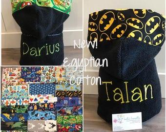 Hooded towel, BLACK, Luxury Egyptian Cotton.  Sale! Save 5 bucks!