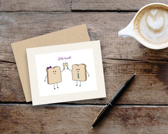 Let's Toast // greeting card / blank inside / Congratulations