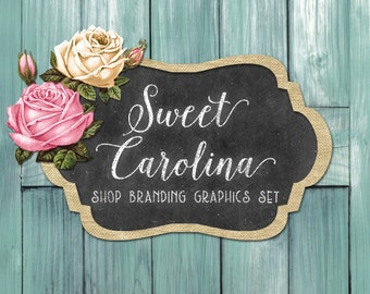 Rustic Wood Shop Branding Banners, Avatar Icons, Business Card, Logo Label + More - 12 Premade Graphics Files - SWEET CAROLINA