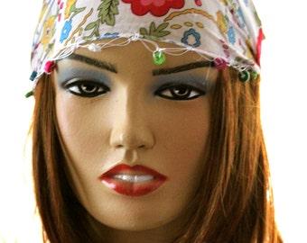 White Flower Headband Hair Bands Boho - headband - cotton headband - lacy headband - summer headband, spring hairband, flowers headband