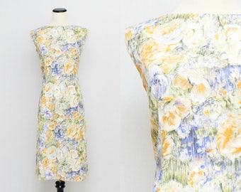Watercolor Floral Sheath Dress - Size Medium Vintage 1950s Cotton Summer Dress