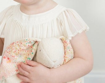 "Heirloom Baby Toy - Soft and Sweet Bunny - Organic Cotton + Liberty of London ""Adelajda"" print - Pink colorway  - Heirloom Bunny Lovey"