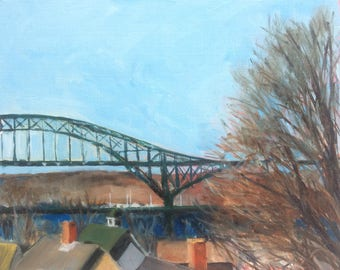 2017 spring studio sale : 8x10 Oil Painting of Piscataqua Bridge from Portsmouth NH rooftop