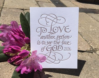 Les Mis Quotation Greeting Card in Letterpressed Calligraphy