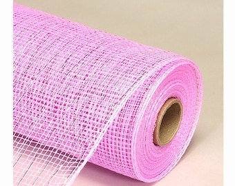 Decorative Poly Mesh Roll With Matching Metallic Stripes PINK