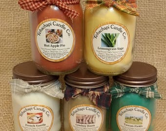 Pick Five 16oz container candles, Soy Candles, scented soy candles, rustic candles, mason jar candles, scented candles, country candles