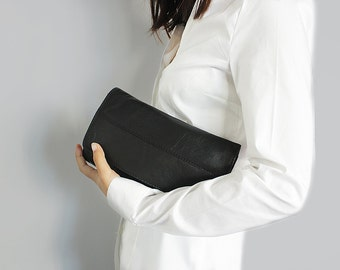 Sale 20% Black womens leather wallet , Leather clutch purse , Black leather purse , Womens wallet