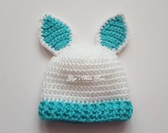 Preemie Crochet Baby Easter Bunny Hat /Newborn Photo Prop/Hospital Photo Prop/Ready to Ship