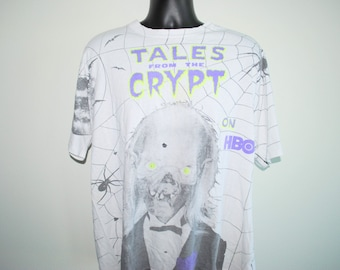 1994 Tales From The Crypt On HBO RARE Vintage 90's Crypt Keeper All Over Print Cult Classic Horror TV Show Promo T-Shirt
