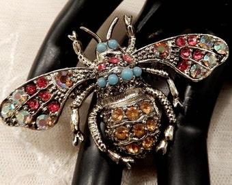 Vintage Multi-Coloured Rhinestone and Turquoise Bead Bee Brooch