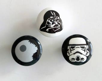 Sale - Star Wars Hand Painted Drawer Knobs Set, Ready to Ship, Star Wars Drawer Pulls
