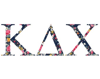 kappa delta chi standard greek font floral print letter sticker outside carcomputer