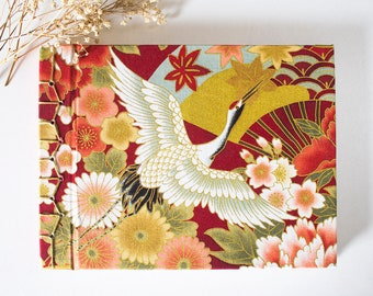 Notebook japanese handmade bookbinding, crane, red, diary, planner, travel notebook, stationery, sketchbook, golden details