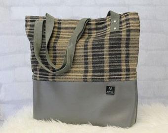 Laptop Bag - Work Bag - Plaid Tote Bag - Fabric Tote - Eco Friendly Bag - Recycled Bag - Teacher Tote - Large Tote Bag - Large Purse