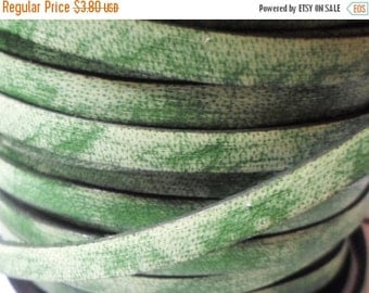 SALE: 2ft Distressed 5mm Flat Italian Buffalo Vintage Green Leather Cord, Strap