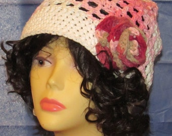 Pink and White Slouchy with Flower