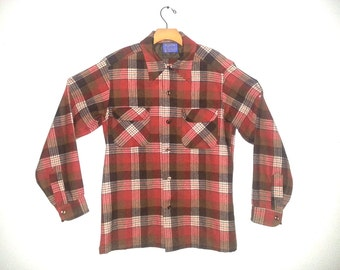 Vintage Pendleton Wool Plaid Board Shirt Medium