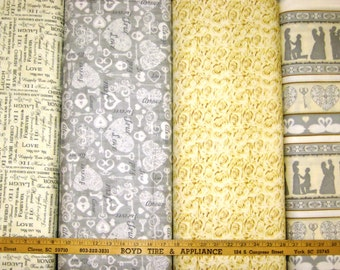 Platinum I Do Wedding Cotton Fabric by Quilting Treasures! [Choose Your Cut Size]