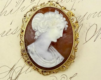 Vintage SILVER CAMEO PIN Pendant Gilt 835 Sterling Silver Colamonici Carved Shell Cameo Pin Pendant