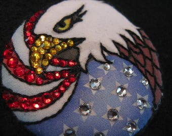 PATRIOTIC EAGLE and FLAG Magnetic Pin-Swarovski Brooch-Stars & Stripes-American Eagle-Proud to Be American-God Bless America