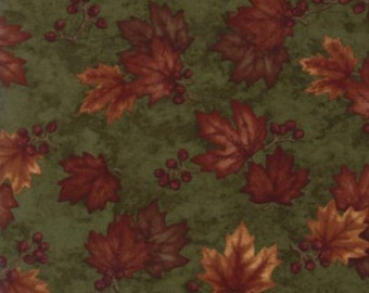 Falls leaves and berries in rusts, golds, and reds on a deep green background.