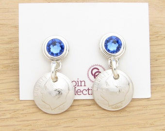 For 30th: 1987 US Dime with Birthstone Post Earrings 30th Birthday or 30th Anniversary Gift Coin Jewelry
