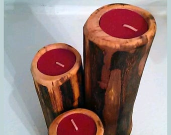 Set of three Rustic black Walnut log candle holders, centerpiece