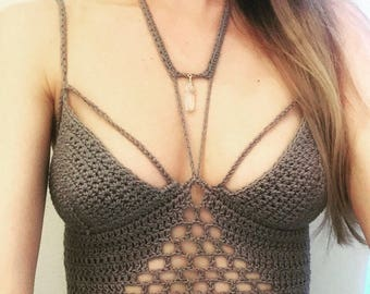 The Hidden Realm, Crochet top, Quartz, Croptop, Bohemian