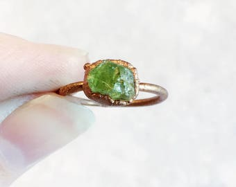 Green Peridot Raw Stone Copper Stacking Ring | August Birthstone Ring | Raw Crystal Gemstone Ring | Electroformed Copper Ring | Raw Stone |
