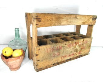 Industrial wooden bottle crate, wine bottle holder, Industrial home decor, stacking crate, French wine crate, wooden crate, wood crate.
