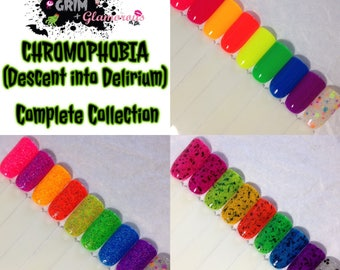 SALE--Chromophobia Complete Nail Polish Collection -SET OF 9- (Fear/Phobia Nail Polish,Neon Cream/Crellie/Glitter Nail Polish,Beauty,Makeup)