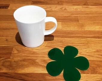Daisy Shaped Green Gloss Finish Acrylic Coasters
