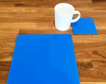 Square Placemats or Placemats & Coasters - in Bright Blue Gloss Finish Acrylic 3mm