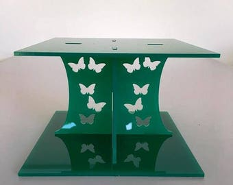 """Butterfly Square Green Gloss Acrylic Cake Pillars/Cake Separators, for Wedding/Party Cakes 10cm 4"""" High, Size 6"""" 7"""" 8"""" 9"""" 10"""" 11"""" 12"""""""