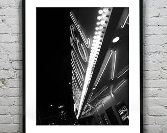 Fremont Street Las Vegas Black and White Wall Art Photography Poster Print