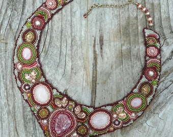 EXQUISITE Bead Embroidered Necklace Collar