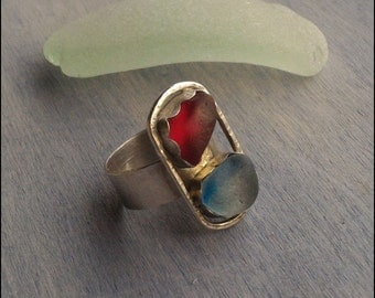 Silver sterling ring Size 6.5 red and cornflower Sea Glass Authentic Sea Glass Woman ring handmade Silver .925