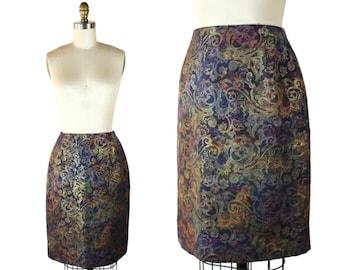 60s Pencil Skirt / 1960s Brocade Swirl Pencil Skirt / Vintage Irridescent Pencil Skirt