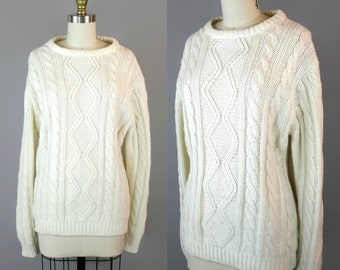 1980s Classic Cable Knit Sweater / 80s Vintage Cream Aran Cabled Sweater