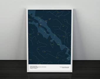 Star Map (Star Chart) For Any Date, Time & Location Ideal Christmas Gift A3