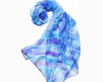 Silk scarf Blue- Hand painted silk scarf- Blue shibory scarf- Abstract scarf- Scarves for women- blue purple scarf- pure summer silk scarf