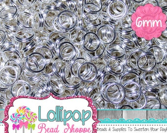 6mm Silver Split Rings, Double Loop Jump Rings, Silver Tone Tiny Key Rings, Silver Plate Split Rings, Pkg of 150